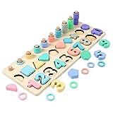 3-in-1 Holzzahlenpuzzle Logarithmisches Brett Formsortierer Zählspiel Montessori Spielzeug für Kinder Kleinkinder Vorschule Bildung Form Sortierer Spiel