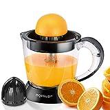 Aigostar Saftpresse elektrisch 2 Kegel, Orangenpresse 40 Watt, Zitruspresse 1 Liter, 2 Drehrichtungen, Hohe Saftausbeute, Fruchtfleisch-Regulierung, BPA-frei
