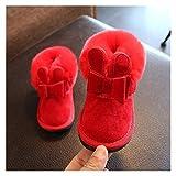 Youpin Schneestiefel für Babys, Kinder, warm, Plüschfutter, Winterschuhe, Mädchen, Kaninchenohren, rutschfeste flache Schuhe, Größe 21–25 (Farbe: Rot, Schuhgröße: 7)
