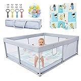 Laufstall Baby Faltbar Laufgitter XXL 180 x 160 x 60 cm Absperrgitter mit Krabbelmatte Playpen Sicherheitsspielplatz für Kinder