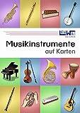 Musikinstrumente auf Karten: Technisch genau gezeichnete Musikinstrumente mit den Instrumentennamen und Instrumentengruppen