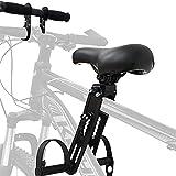 Honeyhouse Kinderfahrradsitz | Vorneliegender Fahrradsitz für Kinder | Kindersitz Fahrrad Vorne Mit Rutschfesten Armlehnen Und Pedalen für Kinder 2-6 Jahre, Maximale Tragfähigkeit 50KG (Black-A)