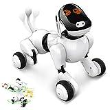 Intelligentes Roboter Hundespielzeug, Interaktives Programmierbares Wiederaufladbares Roboter Welpen Elektronische Haustier Sprach App Berührungsgesteuert mit Bluetooth Lautsprecher für Jungen Mädchen