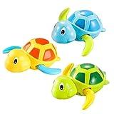 HuiBOYS 3 Pack Baby Badespielzeug,Wasserspielzeug Kinder Bandewanne,Baby Bade Bad Schwimmen Badewanne Pool Spielzeug Uhrwerk Schildkröte Schwimmbad Spielzeug Für Kleinkinder Jungen Mädchen 13X12X5cm