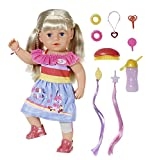 Zapf Creation 830345 BABY born Sister 43cm - Puppe mit lebensechten Funktion und langen blonden Haaren zum Kämmen und Frisieren mit Kleid, Leggings und viel Zubehör