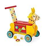 Janod J08004 Lama-Reittier aus Holz für Kinder, leise Räder, Staufach und 6 Klötze, Gleichgewicht lernen, für Kinder ab 1 Jahr, gelb und rot