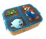 Mario Kinder Brotdose mit 3 Fächern, Kids Lunchbox,Bento Brotbox für Kinder - ideal für Schule, Kindergarten oder Freizeit