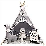 Izabell Kinder Spielzelt Teepee Tipi Set für Kinder drinnen draußen Spielzeug Zelt Indianer Indianertipi mit Fenster Tipi mit Zubehör Tipizelt Zoo