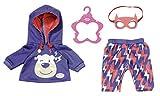 Zapf Creation 830819 BABY born Happy Birthday Gast Outfit - Puppenoutfit mit blauem Hoodie, mit Blitzen bedruckter Hose, Kleiderbügel und abnehmbarer Maske