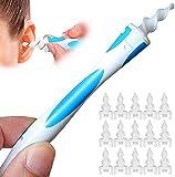Ohrenreiniger Ohrenschmalz Entferner, Ear Cleaning Ohr Schmalz Reiniger kit Sicheres und Weiches 360 Grad Spirale Silikon, Ohrreiniger für Kinder und Menschen (16 Ersatzköpfen)