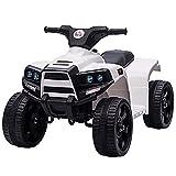 HOMCOM Mini Elektro-Quad Kinder Elektro ATV Kinderwagen für 18 bis 36 Monaten Elektromotorrad mit 2 Scheinwerfer Elektroquad Strandauto-Form PP Stahl Schwarz+Weiß 65 x 40 x 43 cm