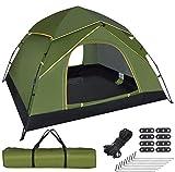 GEEDIAR Zelt Pop Up für 3-4 Personen, automatisches sofort tragbares Kuppelzelt Wasserdichtes und UV-geschütztes Sonnenschutz-Campingzelt mit Tragetasche
