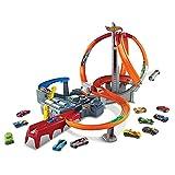 Hot Wheels CDL45 Action Mega Crash Superbahn, Trackset mit Loopings und Kurven inkl. 2 Starter und 1 Spielzeugauto, ab 6 Jahren [Exklusiv bei Amazon]
