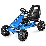 COSTWAY Gokart mit verstellbarem Sitz, Go Cart mit Handbremse, Tretauto bis 30kg belastbar, Pedal Gokart, Tretfahrzeug, Pedalfahrzeug, Kinderfahrzeug für Kinder von 3-8 Jahren (Blau)
