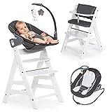 Hauck Alpha Plus Weiß Newborn Set Deluxe - 4-tlg. Hochstuhl + 2in1 Neugeboreneneinsatz (verstellbar) + Sitzpolster
