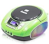 Lauson NXT964 Tragbarer CD-Player mit LED-Discolichter   CD-Radio Boombox   CD Player für Kinder   kinderradio mit USB   LCD-Display   Netz & Batterie, Grün