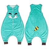 Kleinkind Kinder Baby Jungen Mädchen Cartoon Overall Fleece tragbare Decke Schlafsack, mintgrün, 5-7 Jahre