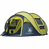 ZHHL Automatisches Outdoor-Zelt Schnelle Kontoeröffnung 3-4 Personen Camping Outdoor-Zubehör Wesentliches Zelt Erwachsenes Großes Wandern Camping Kinderzelt Yellow