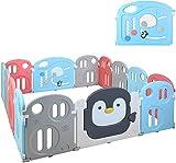 Laufgitter Laufstall Baby Faltbar 200 x 180 x 64 cm Absperrgitter 14 Paneele Krabbelgitter Indoor Outdoor Laufställe Schutzgitter aus Kunststoff mit Tür für Kinder von 0 bis 6 Jahren