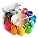 Ulanik Bälle in Tassen Montessori Spielzeug Holz Sorter Spiel 12 Bälle 30mm Alter 1+ Farbe Sortierung und Zählen Vorschule Lernen Bildung