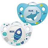 NUK Trendline Schnuller   0-6Monate   BPA-freier Schnuller aus Silikon   Rakete und Hai   2Stück
