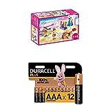 Playmobil Dollhouse 70208 Schlafzimmer und Nähstudio, mit Lichteffekten, ab 4 Jahren + Duracell Plus AAA Alkaline-Batterien, 12er Pack