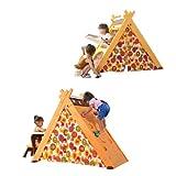 BTM 4-in-1-Spielhaus zum Spielen und Zusammenklappen, multifunktionales Kinder-Spielhaus mit Klettergerüst, faltbarer Kunst-Staffelei und Tisch für Kinder ab 3 Jahren