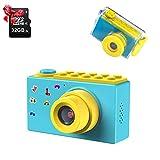 ShinePick Kinder-Kamera, wasserdicht, Mini-Kamera mit TF-Karte 32 GB, Digitaler Zoom 4 x 8 MP, TFT-Bildschirm, 2 Zoll (5,1 cm), für Kinder (blau)
