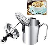 Yijiaoyun Milchaufschäumer Manuell, Milk Frother Mit Kaffee Latte, Milchschäumer Edelstahl Double Mesh (500ml, Silber)