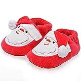 Jungen Mädchen Baumwolle Weihnachtsschuhe,Säugling Warme Weich Winterschuhe,rutschfest Baby Schuhe,0-18 Monate Baby Kleinkinderschuhe,Zum Weihnachten Zuerst Geburtstag Geschenk,Red b,13cm