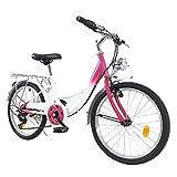Kinderfahrrad 20 Zoll 6-Gang Kinder Fahrrad Jungen Mädchen Fahrrad für 12-16 Jahre Rosa-Weiß, Energieeinsparung und Umweltschutz