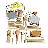 YILING Holz Musikinstrumente Set, Musical Instruments Holz Percussion Set Für Kinder, Reines Holzspielzeug Set Schlagzeug Schlagwerk Rhythmus Band Werkzeuge Für Kinder Und Baby