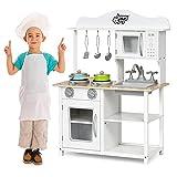 GOPLUS Kinderküche aus Holz, Küche für Kinder, Spielküche mit Metall Zubehör, Spüte, Backofen, Mikrowelle, Kochfeld, Holzküche, Kinderrollenspiele, weiß