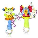 aovowog 2 Pack Baby Rasseln Weiche Baby Musikinstrumente Sensorisches Spielzeug Niedliches Kuscheltier Spielzeug für Baby 0 3 6 9 12 Monate