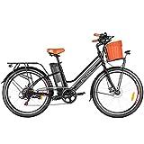 ANCHEER Retro City E-Bike mit 36V-12.5 AH Batterie und 250 W Motor (Ausgangsleistung: 350W) für Damen und Herren, Elektrofahrrad/Pedelec im Barockstil mit 7 Gänge Schaltung und Korb (schwarz)