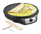 jiayu Electric Crêpe Maker, Isiler Nichtstick Electric Pancake Maker Roddle, 12 Zoll elektrische Krepppfanne mit Teigstreuer und Holzspatel, präzisen Temperaturregelung für Roti, Tortilla, Eier, BBQ