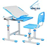 Kinderschreibtisch mit Stuhl, Höhenverstellbar Schülerschreibtisch Schreibtisch mit Schublade und Metallhaken für Kinder Mädchen Jungen - Blau