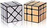 ROXENDA Speed Cube Set, Zauberwürfel Set mit Silber Mirror Cube und Gold Mirror S Cube, Unregelmäßig 3x3x3 SpeedCube Twisty Spiegelwürfel
