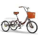 ZCXBHD Zusammenklappbar Adult Trike Dreirad Pedal mit Einkaufskorb Seniorenrad Lastenfahrrad für Outdoor-Sportarten Einkaufen Eltern oder Freunde (Color : Wine Red)