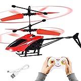 FORMIZON RC-Hubschrauber, Ferngesteuerter Hubschrauber mit Fernsteuerung und LED-Licht, Mini-Fernhubschrauber für Kinder, Drinnen und draußen RC Helikopter Flugspielzeug für Geschenk (Rot)