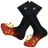 Beheizte Socken Herren Damen,7.4V 2200MAH Elektrische Wiederaufladbarem Batterie Socken,Wärmende Winter-Baumwollsocken Fußwärmer für Skifahren Jagen Angeln Reiten Radfahren Camping Motorradfahren