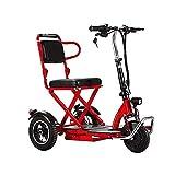 EWYI Zusammenklappbarer Mobilitäts-Roller 3-Rad Handicap-Elektroauto Mit 3-Gang-Schaltung, Elektro-Rollstuhl, Leichtes Elektrisches Dreirad Für Erwachsene, Ältere Und Beh 8AH/30KM