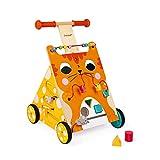 Janod Baby Lauflernhilfe 'Katze' - Holzspielzeug, Laufwagen für Draußen - Baby Walker mit Bremse und höhenverstellbarem Griff - Spielend Laufen Lernen - ab 12 Monaten, J08005