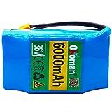 Okoman Hoverboard Akku 36v 6ah, 6000mah Wiederaufladbarer 18650 Li-ion Akku Mit BMS Kompatibel Mit Diverse Hoverboards, Balance-Boards, Segways, E Scooter Akku