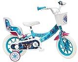Disney Frozen Fahrrad 12 Zoll (30,5 cm) mit 2 Bremsen, Korb vorne & Puppenhalterung hinten + 2 abnehmbare Stabilisatoren für Mädchen, Türkis, Weiß und Fuchsia