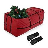 Sunkorto Organizer Weihnachten Aufbewahrungstasche für Weihnachtsbaum künstlich 2,1m Tannenbaum Christbaum/Christbaumschmuck viereckige Tasche gartenauflagen– Rot