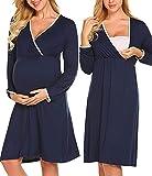 MAXMODA Damen Stillnachthemd Umstandsnachthemd Damen Nursing Nachtwäsche muttermode Stillkleid Nachthemd Damen Schwangerschaft Navy Blau L