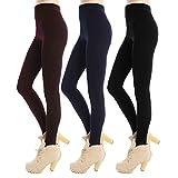 Libella 3er Pack Damen Thermo leggings Strumpfhosen mit Innenfleece hohem Bund weich 4152 Schwarz+Weinrot+Dunkelblau L/XL