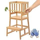 COSYLAND Lernturm Aktualisierter Montessori Schemel aus Bambus mit Sicherheitsschiene, Lernstuhl mit Rutschfeste Matte für Kleinkinder 18 Monate bis 3 Jahre alt für Küche- Badezimmer-Counterlernen