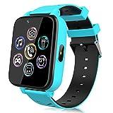 Smartwatch für Kinder, Uhr Telefon für Mädchen Jungen Touchscreen mit Musik Player, Spiel, Kamera, Taschenlampen, Wecker, Smart Watch Telefonieren Geschenk (Blau)